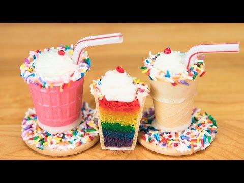 Mini Rainbow Milkshake Cake Pops from Cookies Cupcakes and Cardio