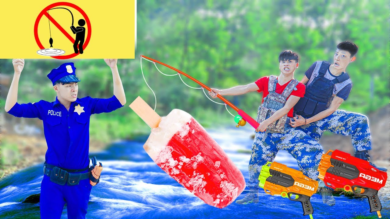 Battle Nerf War VPXMAN No Fishing CREAM ICE & COMPETITION Nerf Guns Fight Man FISHING ICE POPSICLES