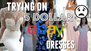 TRYING ON 5 DOLLAR EBAY PROM DRESSES!