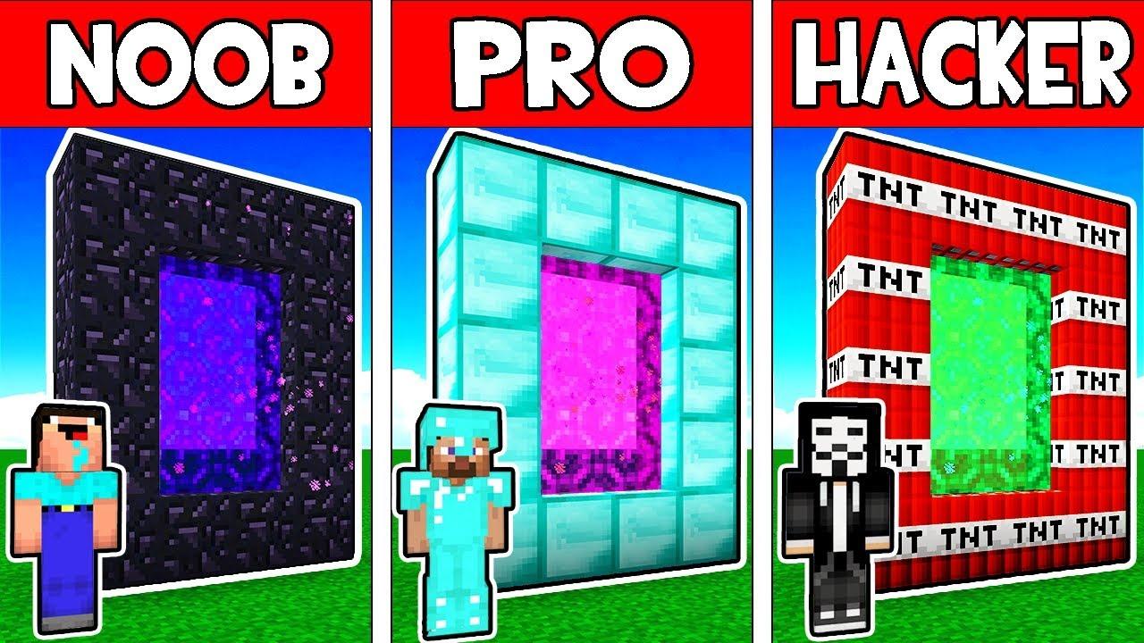 Minecraft - NOOB vs PRO vs HACKER vs GOD : NOOB BUILD A SECRET PORTAL!  Minecraft Animation