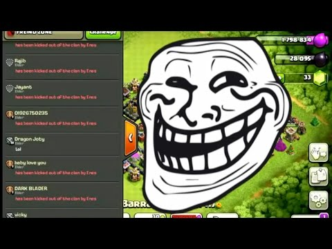 Clash of Clans - Trolling Clans - Kicking Out Everyone!