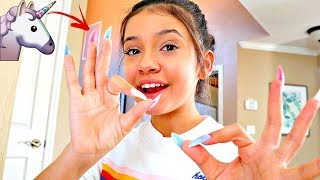 Wearing SUPER LONG ACRYLIC Unicorn Nails for 24 HOURS!!🦄💅part 1