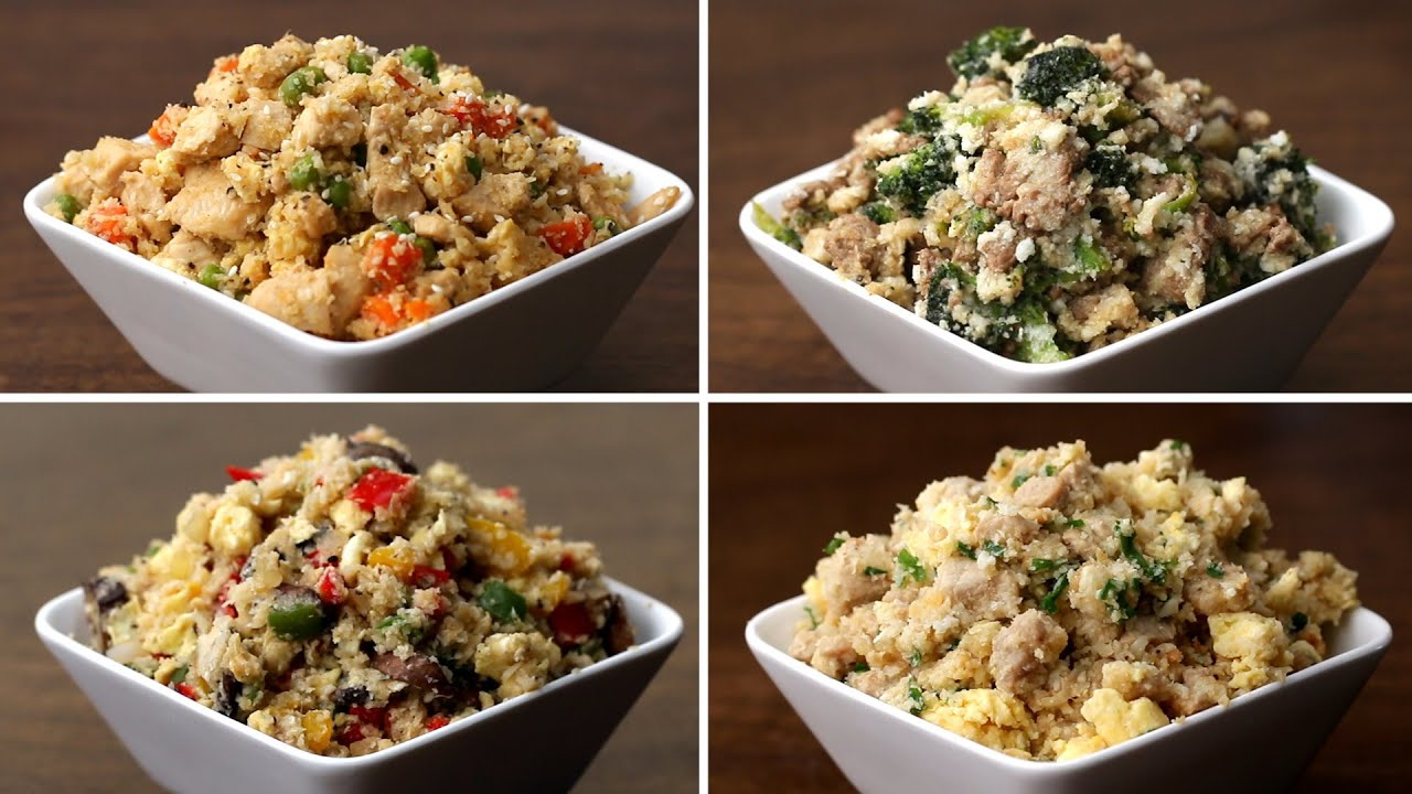 Cauliflower fried rice 4 ways youtube cauliflower fried rice 4 ways tasty ccuart Images
