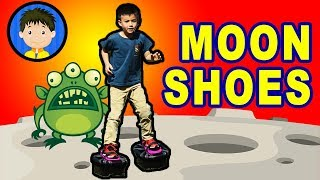 Blastoff! Trying out Moon Shoes Toy - Connor unboxes and reviews moon shoes
