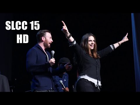 SLCC15: Chris Evans, Anthony Mackie PANEL and Hayley Atwell appears on stage.