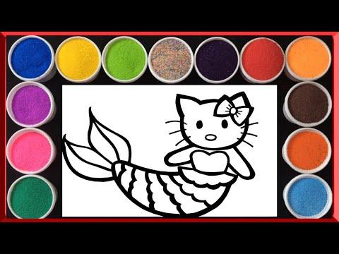 ภาพวาดระบายสี โรยทราย นางเงือกน้อยคิตตี้   Coloring sand painting Hello Kitty Mermaid  (Lollipop)