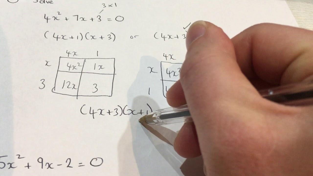 GCSE maths: solving more complex quadratics by factorising