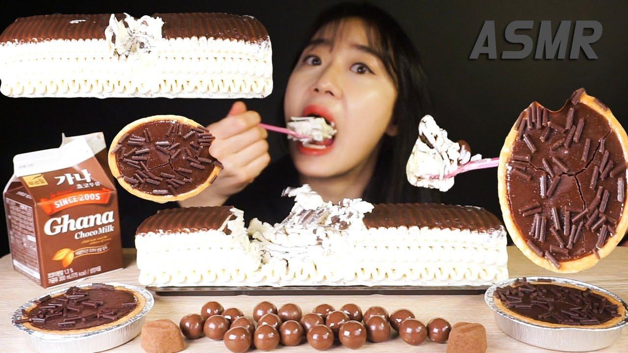 SUB) 홈플러스 아이스크림케이크 초콜릿타르트 먹방 ASMR MUKBANG ICECREAM CAKE CHOCOLATE TART EATINGSHOW チョコレート ช็อคโกแลต