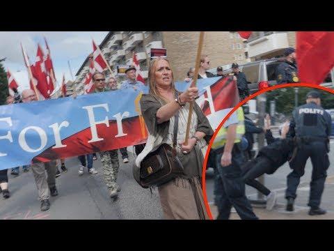 """Antifascister konfronterer For Frihed-march gennem Nørrebro imod """"snigende islamisering af vesten"""""""