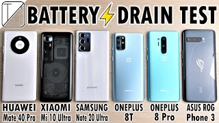 Huawei Mate 40 Pro vs Mi 10 Ultra / Note 20 Ultra / OnePlus 8T / 8 Pro / ROG 3 Battery DRAIN Test!