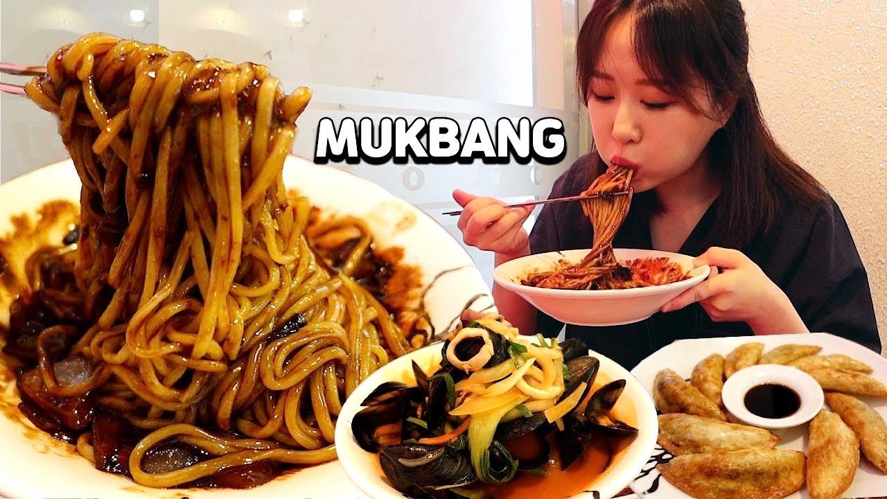 짜장면이 2천원이라서 한 그릇만 먹을 수 없었습니다..🥺🥺짜장면, 군만두, 후식 짬뽕까지 배터지게 먹방 Jjajangmyeon, Mandu, Jjambbong MUKBANG
