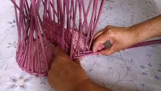 Газетное плетение. Коробочка для специй с перегородкой