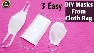 3 Easy Face Masks From Cloth Bag/ How to make disposable Face mask easily at home/ Easy