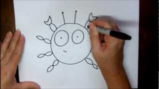 How To Draw A Crab Step-by-Step Easy Cartoon Lesson Tutorial By Doodleacademy