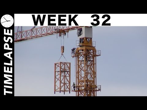 Tower crane #1 rises higher: One-week construction time-lapse with many closeups: Week 32