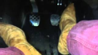 Flooring and stomping gas pedal with tan Sancho boots