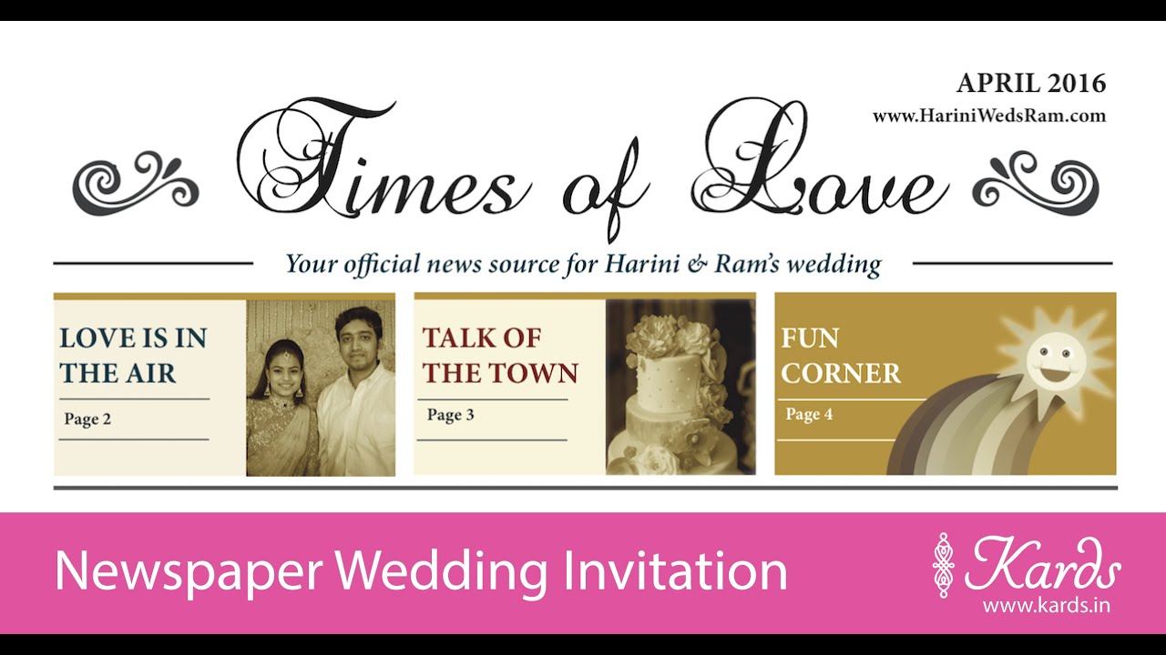 Newspaper Indian Wedding Invitation - Kards - YouTube