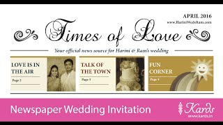Newspaper Indian Wedding Invitation - Kards