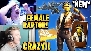 "Streamers React to *NEW* FEMALE Raptor Skin ""Velocity"" *LEGENDARY* 