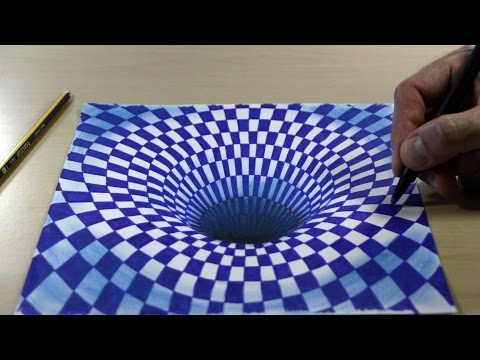 Trick Art on Paper, 3D Painting Black Hole in Blue Chess