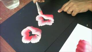 One Stroke Painting- Tutorial 8 How to paint half/folded flowers with 3d effect