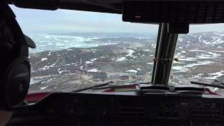 great approach and landing at ilulissat greenland with an air greenland dhc 7