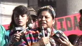Rigoberta Menchú on the day she won the Nobel Prize for Peace