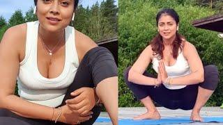 Shriya Saran Hot Yoga Video   International Yoga Day 2021   TFPC