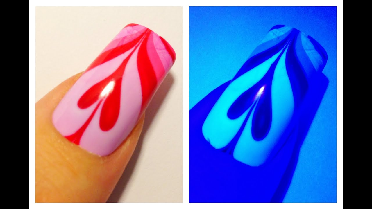 ULTRAVIOLET VALENTINES DAY HEART  UV Water Marble Nail Art Tutorial  -  YouTube