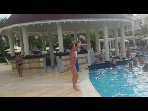 Grand Bahia Principe Esmeralda Dominican Republic Punta Cana 2016 Gabika dancing by the pool
