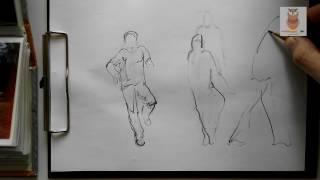 как быстро научиться рисовать фигуру человека в движении. скетч