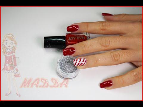 Nail Art , monocolore rosso e bianco con righette natale 2014