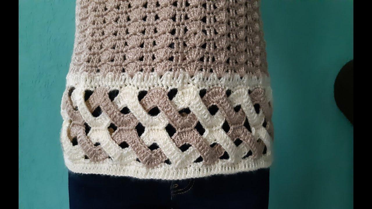bf95ff3468 Blusa a crochet - punto olas de mar trenzadas dobles ganchillo - tejida  para dama - parte  1