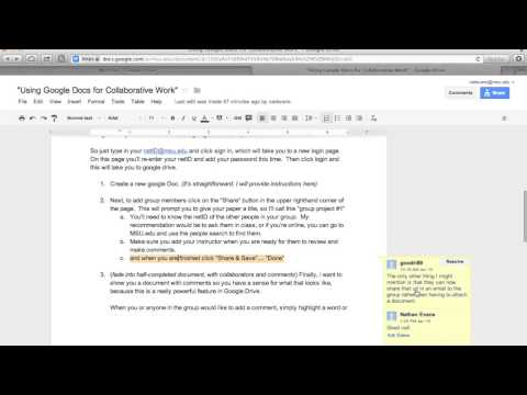 Using Google Docs For Collaborative Work