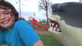 """Pet Shark Attack @ Park with Victoria, Annabelle & Sharky """"Toy Freaks Style"""""""