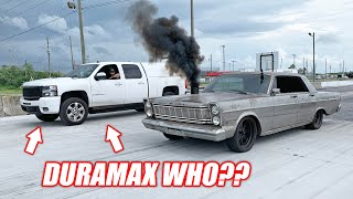 Duramax Goober Calls Out Our Cummins Galaxie (The Galaxie's Second Grudge Race)