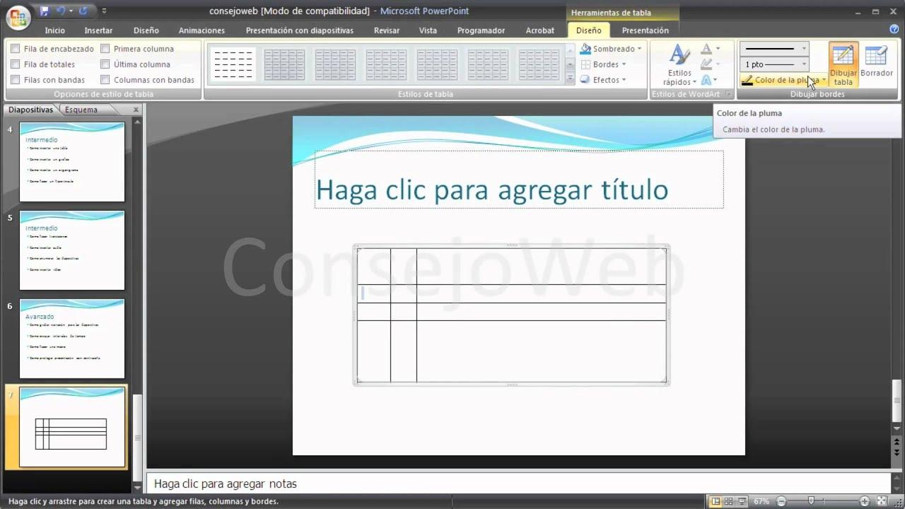 como insertar una tabla en una presentacion powerpoint 2007 2010
