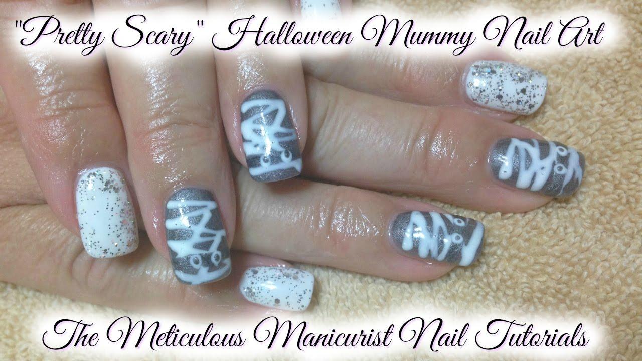 "How To ""Pretty Scary"" Halloween Mummy Gel Polish Nail Art ..."