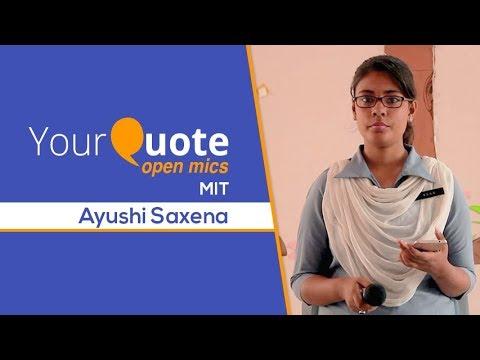 'Aakhir Kyun' by Ayushi Saxena | Hindi Poetry | YQ - MIT (Open Mic 2)