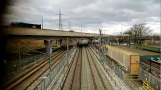 Eurostar Train emerging from tunnel on HS1 at Dagenham Dock.