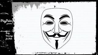 Draw the Guy Fawkes mask - Anonymous mask drawing