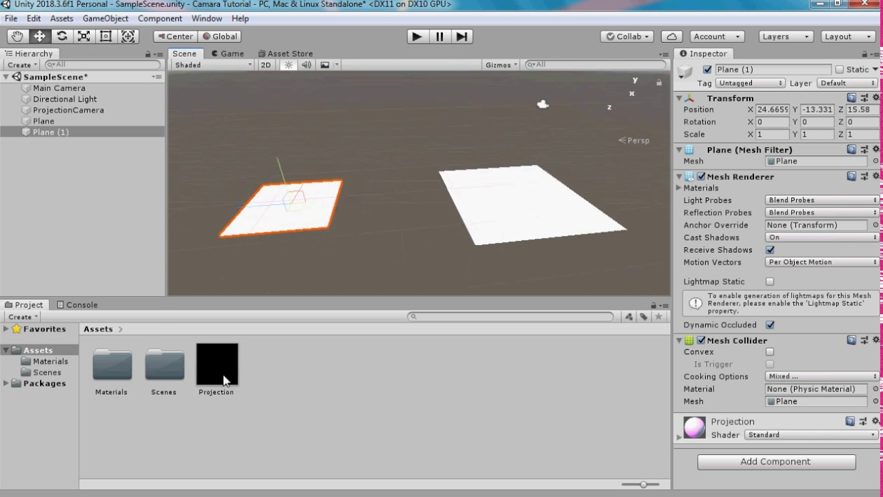 How to project a camera view onto a plane in unity
