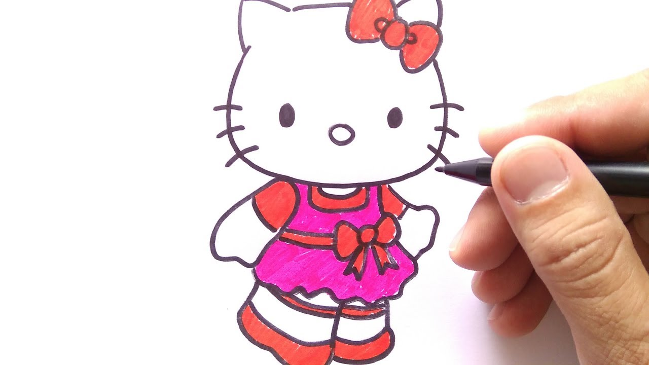 How To Draw Hello Kitty Cara Menggambar Hello Hitty