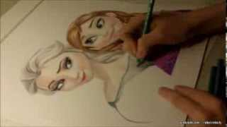 Drawing Elsa and Anna from Frozen