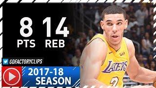 Lonzo Ball Full Highlights vs Bulls (2017.11.21) - 8 Pts, 14 Reb