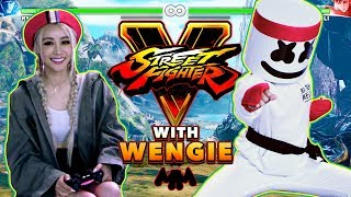 Wengie v. Marshmello 1v1 Street Fighter V Challenge | Gaming with Marshmello