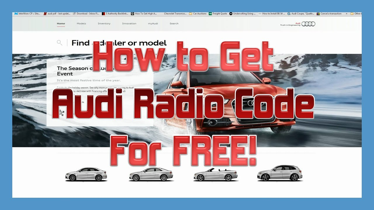 How To Get An Audi Radio Code For Free Youtube