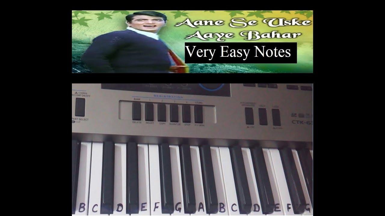 aane se uske aaye bahar keyboard tutorial harmonium piano very easy notes slow tutorial youtube. Black Bedroom Furniture Sets. Home Design Ideas