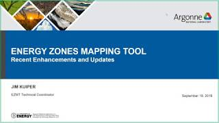 Energy Zones Mapping Tool Webinar - September 19, 2019
