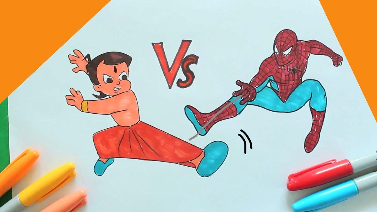 CHHOTA BHEEM Vs Spiderman Coloring